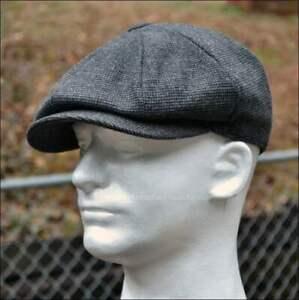 Wool Tweed Newsboy Hat Gray Gatsby Ivy Cap Driving Black Flat Plaid Apple Cabbie