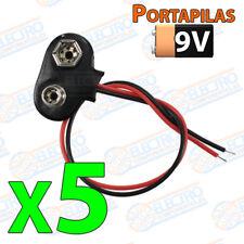 5x Cable Clip 9v T battery alimentacion terminal holder portapilas cuadrada