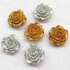 10/50pcs Resin Flowers Rose Flatback Flat Backs Scrapbooking Craft