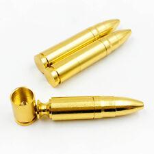 1pcs Fashion Bullet Shape Pipe Golden Pipe Little Pipe Chinese Medicine Holder J