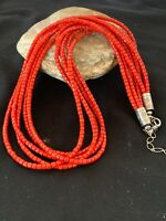 Navajo Indian Sterling Silver Bamboo Coral Bead Necklace Pendant 2851