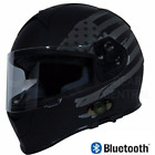 Torc T14 Bluetooth Full Face Dual Visor Motorcycle Helmet Flat Black Flag