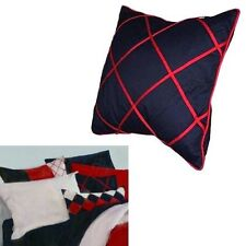 Nautica Colorblock 'BULLETIN BOARD' THROW PILLOW Navy Blue Dark Red Cotton Twill