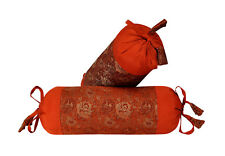 Floral Art Deco Bolster Pillow case Cover Cushion Throw Cylinder Orange Color