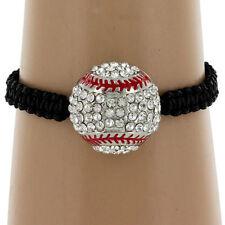 Ladies Sports Rhinestone Crystal Bling Baseball Mom Macrame Bracelet Jewelry