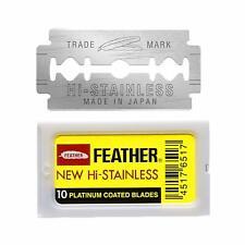 Feather Hi Stainless Yellow |Premium Razor DE Barber Shaving Blade|Made in JAPAN