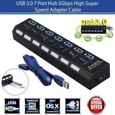USB 3.0 Hub On/Off Switches AC Power Adapter Cable For PC Laptop 7 Port USA