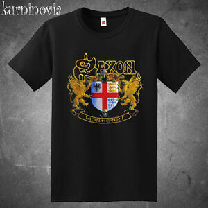 Saxon Lionheart Logo Men's Black T-Shirt Size S to 3XL