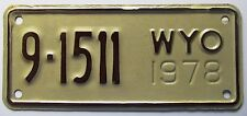 Wyoming 1978 BIG HORN COUNTY MOTORCYCLE License Plate SUPERB QUALITY # 9-1511