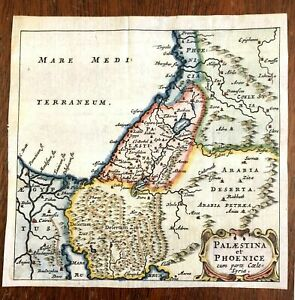 Holy Land Palestine Israel Syria Dead Sea Phoenicia 1686 Cluverius small map