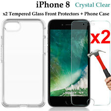 x2 Apple iPhone 8 9H tempered glass front screen protector and clear case cover