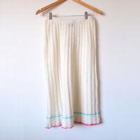 Vintage VIVACE Cream Texture Stripe Pleated Stretch Knit Midi Skirt Size 8,10,12