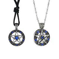 2pcs Herren Damen Vintage Pentagramm Strass Edelstahl Anhänger Halskette