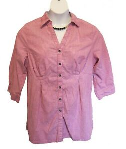 Avenue WEEKEND Shirt Plus Size 14W 16W X Blouse Mauve Pinstriped Seamed Casual