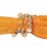 Pearl White Glass Pearl Shell Silver Tone Charm Handmade Wrap Coil Bracelet