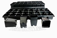 96 Qty 2.5 In Square 3.5 Deep Press Fit garden Pots,+ 3 TRAYS 3225 AND 18 LABELS