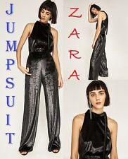 ZARA Long Black Shiny Velvet Jumpsuit New (R$99.90) Halter Bow Sleeveless  S M