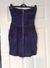 Strapless Blue/black Full Front Zip Dress Size 10 Motel