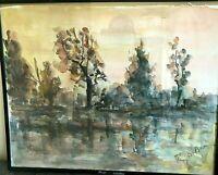 DUBUC ROLAND, tableau aquarelle étang et sous-bois