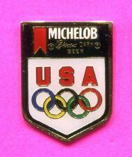 1988 SEOUL OLYMPIC PIN MICHELOB LAGER DARK PIN BADGE USA NOC TEAM USA PIN