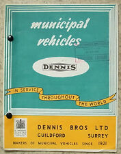 DENNIS MUNICIPAL VEHICLES Sales Brochure Sept 1958 #PY 109 REFUSE COLLECTOR