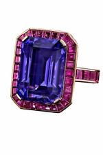9Ct Emerald Sapphire Synt Diamond Halo Art Statement Ring Yellow Gold Fns Silver