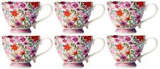 Set of 6 Large Oversized Bone China Mugs Coffee / Soup Mugs Floral Rose