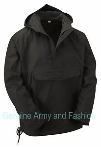 Army Smock Military Combat Style Hooded Jacket Tactical Fishing Top Anorak Black