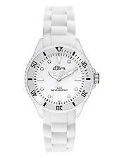 s.Oliver Damenuhr Uhr weiß Armbanduhr Silikonarmband SO 2296 PQ weiß