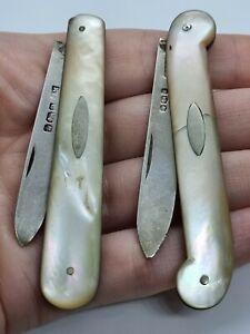 Antique silver sterling England  nacre  fruit knives Victorian Era