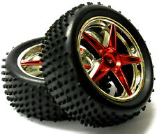 67037 1/10 Scale Off Road RC R/C Buggy Rear Wheels and Pin Tyres x2 Red Chrome