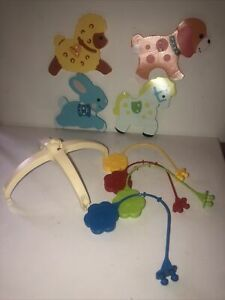 Vtg Fisher Price Music Box Spinning Mobile- Horse Dog Sheep Bunny Parts Lot