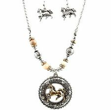 Western Live Love Ride Horse Riding Patina Pendant Chain Necklace Earrings Set
