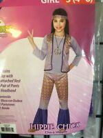 Rubies Halloween Sensations Girl's Small 4-6 Hippie Chick 3 Piece Costume NEW
