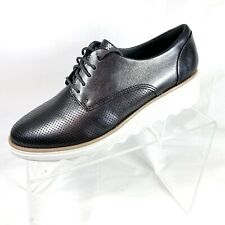 Clarks Collection Sharon Crystal Women's Wedge Oxfords Pewter Leather Sz 7M New