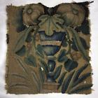 "Antique Flemish Tapestry Fragment, Panel, Chalice or Goblet & Leaves, 10.5"" Sq."