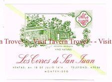 Unused 1940s URUGUAY Montevideo Los Cerros de San Juan green Wine Label