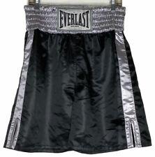 Everlast Skinners Satin Shiny Boxing Trunks Shorts Black Silver Tyson Medium