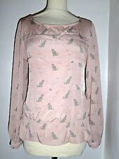 NEXT silky cat print blouse shirt top UK 10