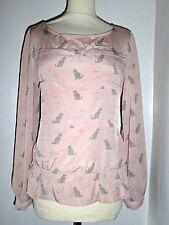 NEXT Sedoso Blusa Camisa Top Estampado de Gato UK 10
