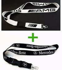 Mercedes Benz Black Lanyard & AMG White Lanyard Key Chain Neck Strap 2 in 1 Pack