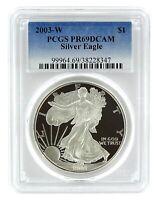 2003 W 1oz Silver Eagle Proof PCGS PR69 DCAM - Blue Label