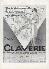 Publicité gaine CLAVERIE corset lingerie femme vintage photo  print ad 1936 -4h