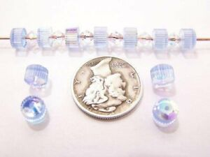 Swarovski 5240 Light Sapphire AB 6mm Crystal Cog Wheel Spacer Beads (6 pieces)