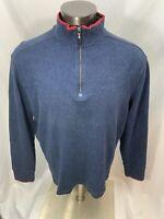 Robert Graham Men's Blue Cotton 1/4 Zip Pullover Sweater Sweatshirt • Size 2XL
