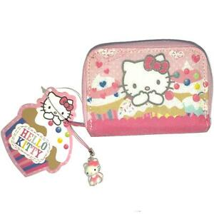 Hello Kitty Childrens Cupcake Pink Glitter Zip Coin Note Card Pouch Wallet Purse