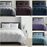 Luxury Pintuck Bedding Set 100% Cotton Duvet Quilt Cover Single Double King Size