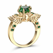 Size 9 Green Emerald CZ Engagement Ring 10KT Yellow Gold Plated Wedding Band