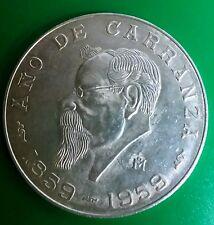 Cinco Pesos Año De Carranza 1859-1959 Commemorative. 720 Silver Coin 18.055 gr.