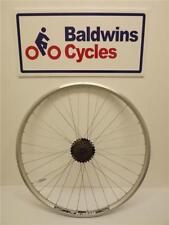 700c / 29er REAR Hybrid Bike Wheel D/ Wall SILVER Rim - Q/R + 7 SPEED FREEWHEEL
